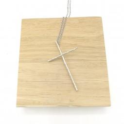 Sautoir Croix Bambou Argent...