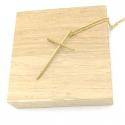 Sautoir Croix Bambou Bronze